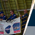Super Guppy brings EM-1 capsule to KSC (Jared Haworth): Flight Crew watching the unloading operation