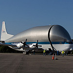 Super Guppy brings EM-1 capsule to KSC (Jared Haworth): Opening the Super Guppy transport