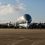 Super Guppy brings EM-1 capsule to KSC (Jared Haworth): Waiting to offload Orion EM-1 capsule
