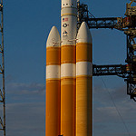 Delta IV Heavy / NROL-37 (Jared & Dawn Haworth): Morning sun illuminates the logos on the Delta IV interstage