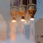 Delta IV Heavy / NROL-37 (Jared & Dawn Haworth): Three Aerojet Rocketdyne RS-68A main engines powering the NROL-37 payload to orbit.