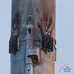 Falcon 9 / SES-10 (Mary Ellen Jelen): Grid Fins on Fire