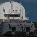 SLS Core Stage Pathfinder Arrives at KSC via Pegasus Barge: Crew on Deck