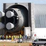 SLS Core Stage Pathfinder Moves off Pegasus at KSC: