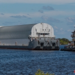 SLS Core Stage Pathfinder Arrives at KSC via Pegasus Barge: Pathfinder in Pegasus Barge