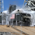 Sound Suppression System Final Test (Michael Howard): SLS water flow test at LC-39B