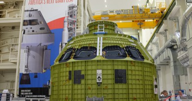 NASA's new Orion spacecraft was moved into KSC's Operations & Checkout building for preparation to fly atop SLS in 2018 in the EM-1 mission.