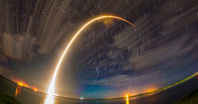 This is 16 minutes of star trails and then the 170 second  launch streak of the #JCSAT16 #Falcon9 rocket launched by SpaceX at 1:26am on August 1, 2016 from Cape Canaveral Air Force Station. This is a composite of 33 images. Photo Credit: Michael Seeley for We Report Space