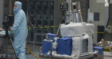 As seen on December 3, 2015, the SAGE-III in a clean room at the SSPF at Kennedy Space Center. (Photo: Bill Jelen/We Report Space)