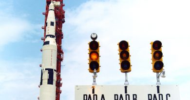 Original signs during the Saturn V era show three pads within Launch Complex 39.  Photo credit: NASA / Public Domain.