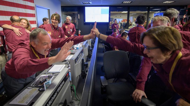 "Tom Hoffman, InSight Project Manager, NASA JPL, left, and Sue Smrekar, InSight deputy principal investigator, NASA JPL, react after receiving confirmation that the Mars InSight lander successfully touched down on the surface of Mars, Monday, Nov. 26, 2018 inside the Mission Support Area at NASA's Jet Propulsion Laboratory in Pasadena, California. InSight, short for Interior Exploration using Seismic Investigations, Geodesy and Heat Transport, is a Mars lander designed to study the ""inner space"" of Mars: its crust, mantle, and core. 