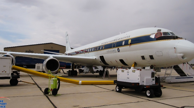 "NASA's DC-8 is outfitted with a science laboratory that will measure and characterize the smoke from wildfires. Photo: Bruce ""Sparky"" Parker / We Report Space."