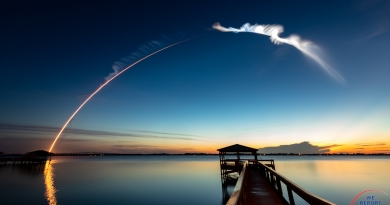 This single, 251-second long exposure follows the early flight of an Atlas V rocket on August 8, streaking eastward toward the dawn from Cape Canaveral Air Force Station, planet Earth.  Photo credit: Michael Seeley / We Report Space