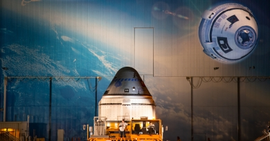 Boeing's CST-100 Starliner capsule makes its public debut at Kennedy Space Center on November 21, 2019.  Photo credit: Scott Schilke / We Report Space