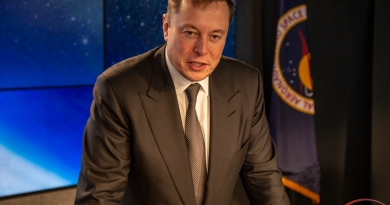 SpaceX's Elon Musk addresses members of the press following the Crew Dragon In Flight Abort Test on January 19, 2019.  Photo credit: Scott Schilke / We Report Space