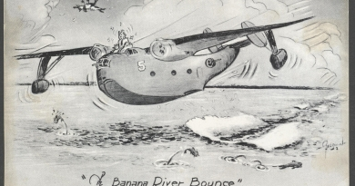 "US Navy cartoon depicting the ""Banana River Bounce,"" a Martin PBM Mariner having a bumpy touchdown on the surface of the Banana River."