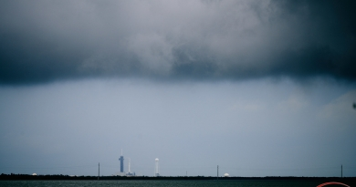 Storm clouds gather over Launch Complex 39A at Kennedy Space Center on Wednesday, May 27, 2020.  Photo credit: Jared Haworth / We Report Space