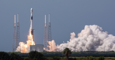 SpaceX's Falcon 9 rocket lifts off at 4:10pm on June 30, 2020, carrying GPS III SV03 to orbit.  Photo credit: Scott Schilke / We Report Space