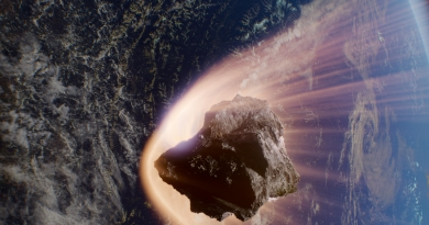 A fictional asteroid punches into Earth's atmosphere at 38,000 miles per hour in the IMAX® filmAsteroid Hunters.© 2020 IMAX Corporation