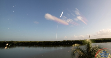 SpaceX's Falcon 9 rocket launches from LC-39A, Kennedy Space Center on Sunday, October 18, 2020.  Photo credit: Bill Jelen / We Report Space