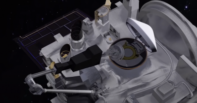 A still frame from an animation released by the OSIRIS-REx team depicts the TAGSAM collection head being stowed in the sample return capsule.  Credit: NASA/NASA Goddard Spaceflight Center/OSIRIS-REx Mission