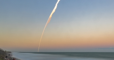 United Launch Alliance's Atlas V rocket streaks out over the Atlantic Ocean in this long-exposure photo captured from Patrick Air Force Base.  Photo credit: Michael Seeley / We Report Space