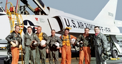 The original Mercury 7 were all test pilots. Standing in front of the U.S. Air Force Convair F-106B aircraft are Carpenter, Cooper, Glenn, Grissom, Schirra, Shepard, and Slayton. (Photo: NASA)