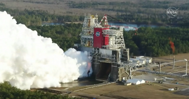 NASA's Space Launch System fires up all four engines of the core stage for a planned full-duration test burn. Photo credit: NASA TV