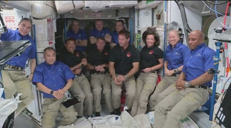 The 11 astronauts aboard the International Space Station pose for a group photo following the arrival of the Crew-2 complement. Photo credit: NASA