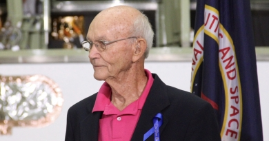 Astronaut Michael Collins attends the renaming ceremony for the Neil Armstrong Operations & Checkout building at Kennedy Space Center in 2014. Photo credit: Michael Seeley / We Report Space